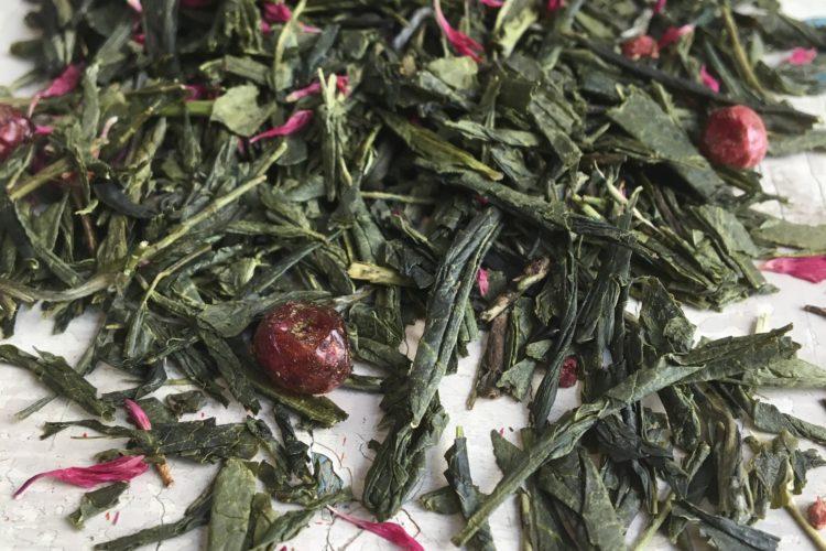 Tè verde fragole e uva