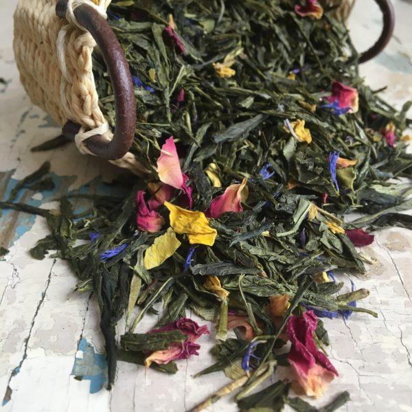 Tè verde petali e fiori